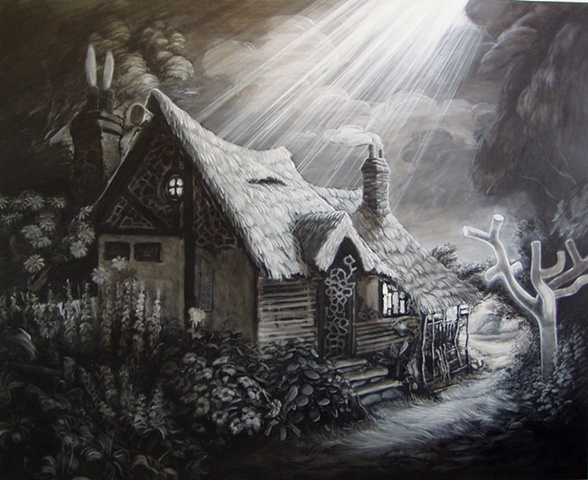 Thomas kinkade type cottage drained of colour and bathed in a religious light