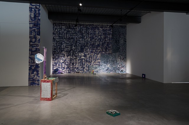 "Installation view of ""Contemplative space (above Marat)"" Hangar H18, Brussels, Belgium"