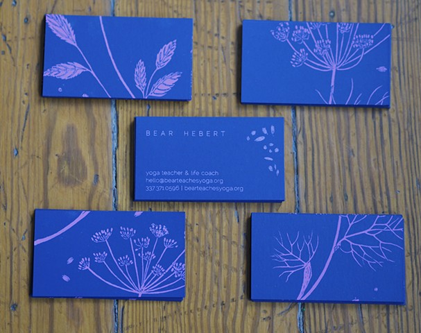 Screen printed Botanical Business Cards