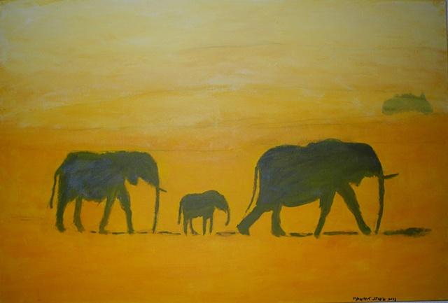 Three Elephant Walk, painting, acrylic, Paris, Manjeet singh