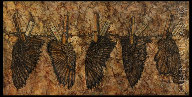 mixed media, patagonia, recycled, upcycled, distressed, resin, ink, fluid acrylic, india ink, wings, codes, secret, messages