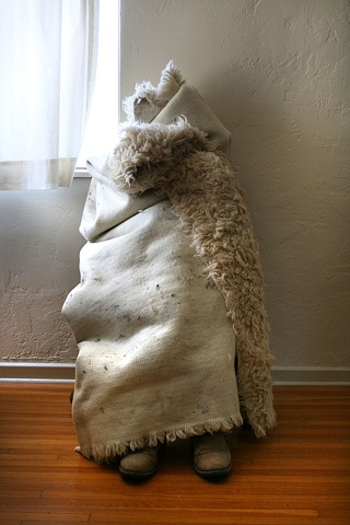 Sculpture with Rug and Boots, Home Squat Residency, by Melissa Wyman