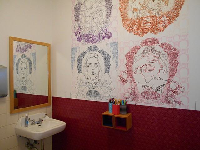 The Coloring Wall of Angst, installation in restroom of Soo Visual Arts Center