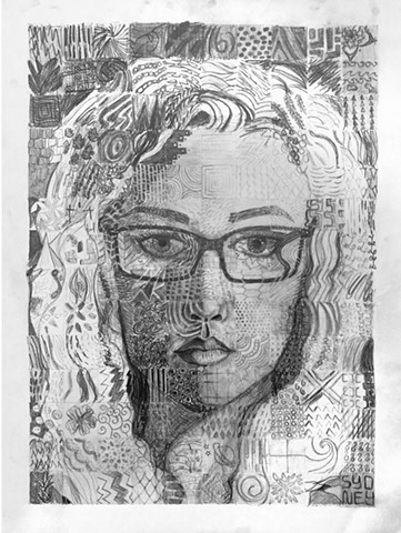 DRAWING II: Gridded Self-Portrait