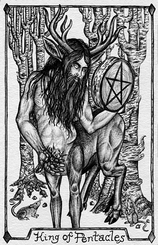King of Pentacles, gray tarot, coins, nature tarot, mythical figure, fauna man