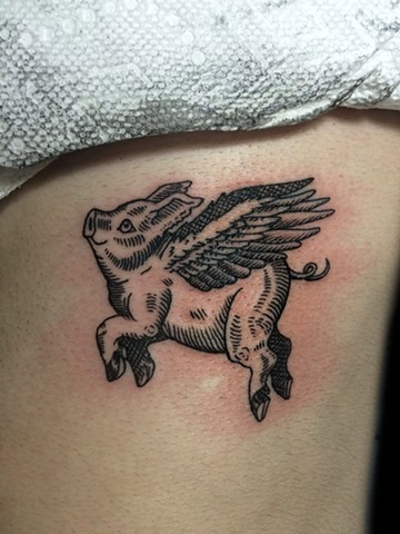 flying pig, flying pig tattoo, line work tattoo, etching tattoo, leta gray, leta lou tattoo, leta tattoo, leta gray tattoo, pig tattoo