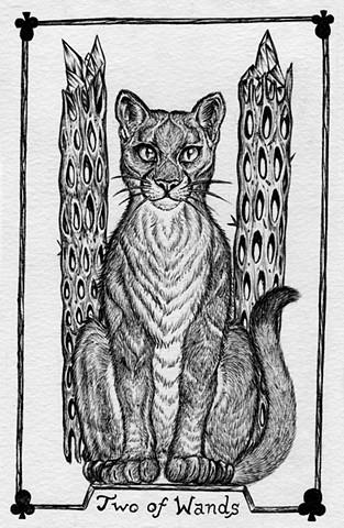 two of wands, grey tarot, grey tarot, leta gray, mountain lion tarot, animal tarot, cat tarot