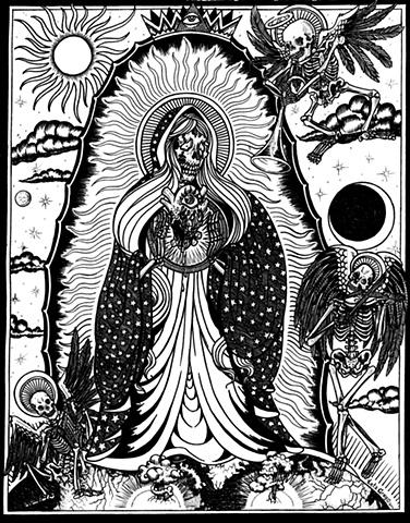 Guadeloupe mary skeletons religion atom gothic