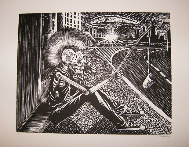 punk skeleton atomic blast homeless city apocalypse