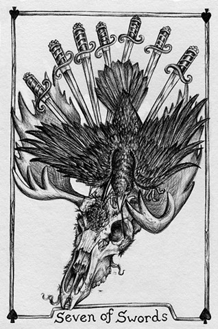 Seven of Sword, 7 of swords, gray tarot, moose head, crow, death, swords