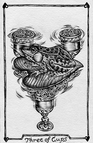 Three of cups, 3 of cups, gray tarot, frog, frog eggs, cups, water, singing frog