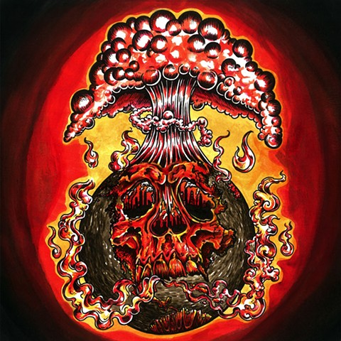 price of progress band, price of progress album, steve wheeler, leta gray, metal album, album cover, red earth, earth blowing up, dying earth, leta gray illustration