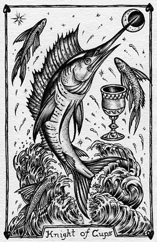 knight of cups, gray tarot, king fish, flying fish, magical tarot, magic water, waves, swordfish, moon