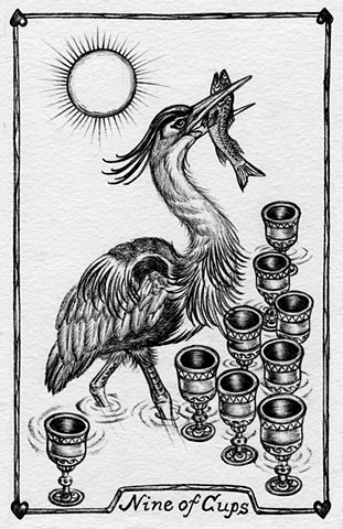 nine of cups, 9 of cups, gray tarot, blue heron, nature tarot, heron and fish, cups, suit of cups