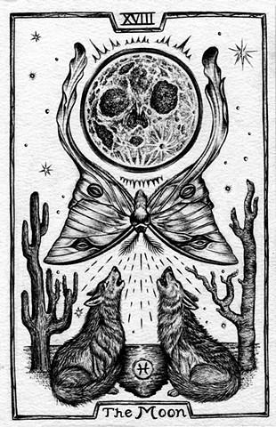 the moon, the moon tarot, moon tarot card, wolves, moon, gray tarot, luna moth, cactus, pieces
