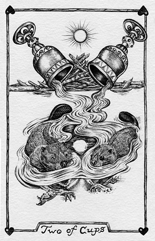 two of cups, 2 of cups, beavers, gray tarot, good home life, love, partnership, dam, water