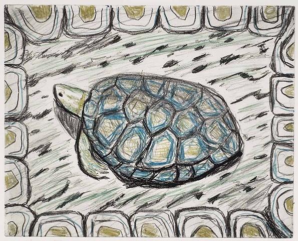 Margaret Merritt, Grass Turtle, Solar Plate Etching, Monoprint, Walnut Frame