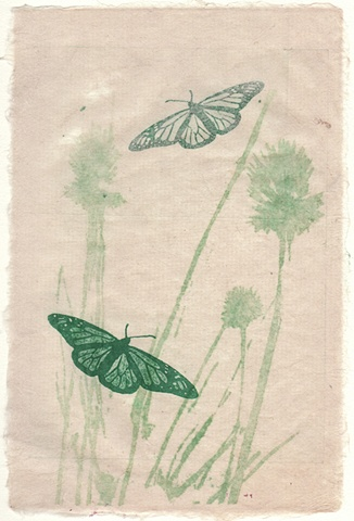 Untitled: Green Butterflies on Handmade Paper