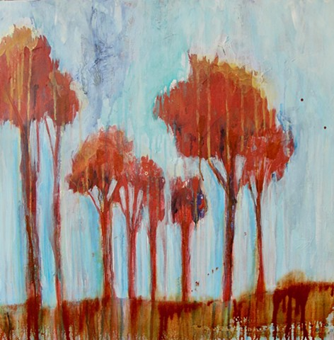 landscape, trees, abstract