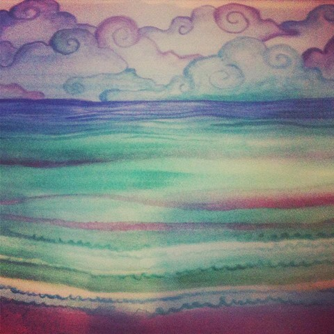 Watercolor sketch, inspired by the sea at San Agostinillo, Oaxaca, Mexico