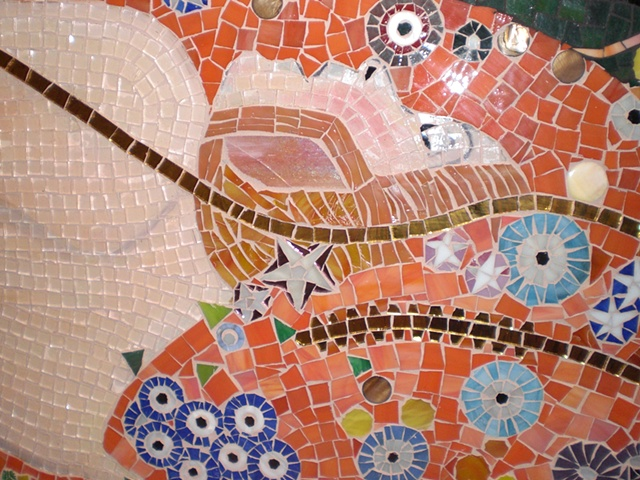 Water serpents mosaic detail