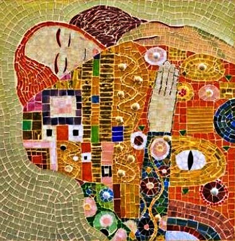 The embrace mosaic, Gustav Klimt adapation