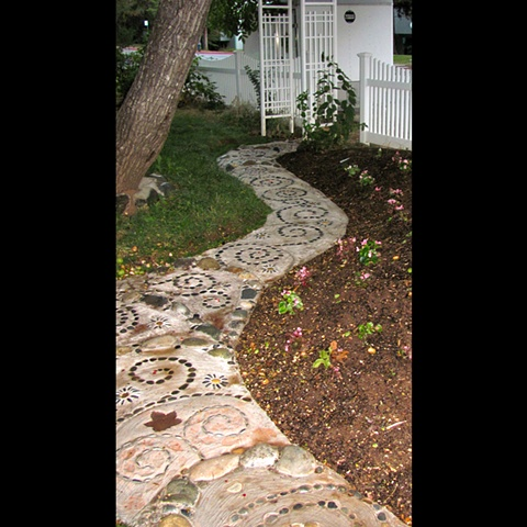 Mosaic pebble garden path