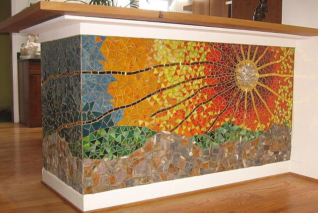 sunset kitchen mosaic backsplash stained glass