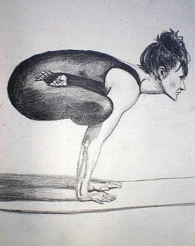 Padmasana Arm Balance Yogi Pencil Drawing