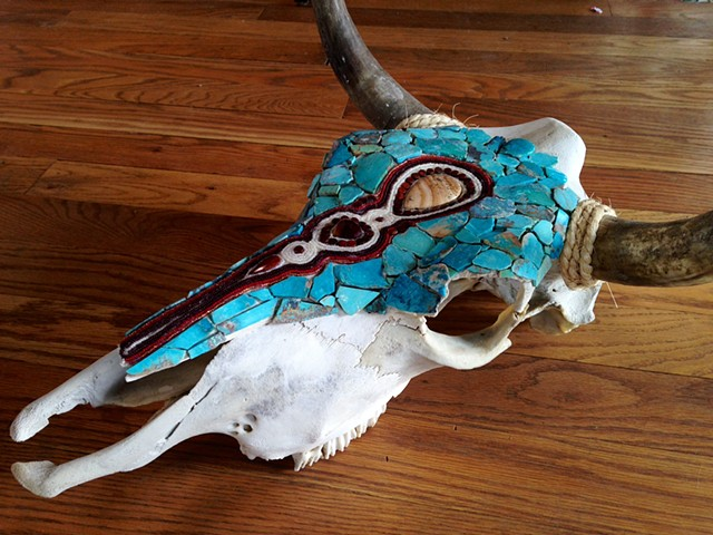 Intricately Beaded Steer Skull mosaic with turquoise, jasper, and glass beads