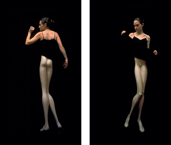 two photographs of a woman with artificially slender legs