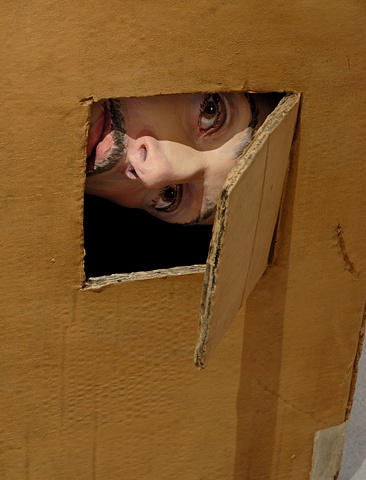 Sculpture of man in cardboard box- detail of face peeking out from cutout with flap