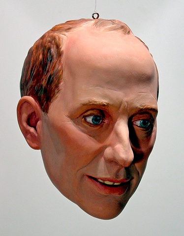 sculpted painted portrait of publisher Knight Landesman