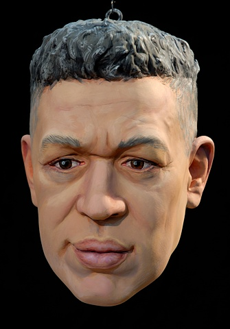 sculpted painted portrait of Andres Serrano