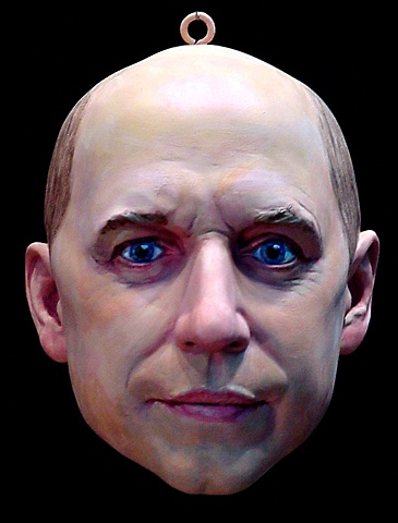 sculpted, painted portrait head of artist Julian Jackson