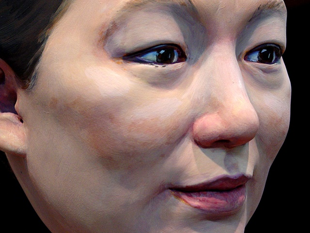 sculpted painted portrait of artist Jackie Chang