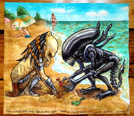 Alien and Predator Kids at the Beach