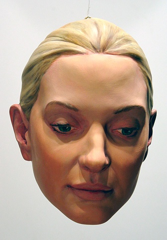 sculpted painted portrait head of curator Sabine Walli