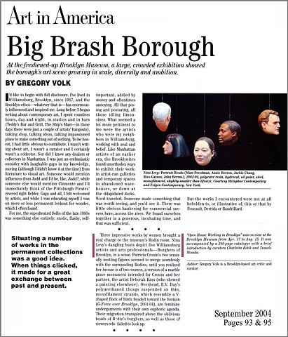"Art In American 2004 Article  Brooklyn Museum's ""Open House""  By Gregory Volk"