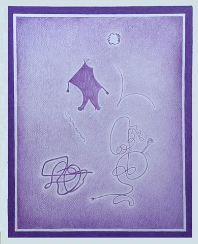 Les auras violettes 40 X 50 cm Crayon de couleur sur papier 300 gr