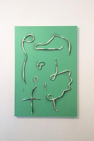 Les signes (vert)  70 x 100 cm Argile, graphite, crayon et acrylique sur bois
