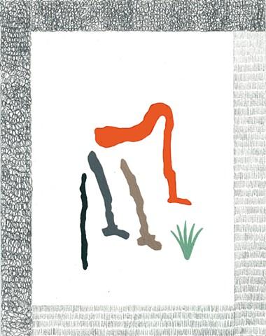 """Formes oranges et vertes De la série """"Les cadres fous"""" 21 x 16,5 cm ©Blanche Daramir 2014 2014"""