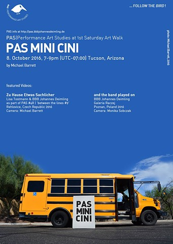 Mini cini, pas, performance art studies, johannes demising, lisa tostmann, rhelovice, czech republic, tucson, arizona, artist michael barrett, performance art, video