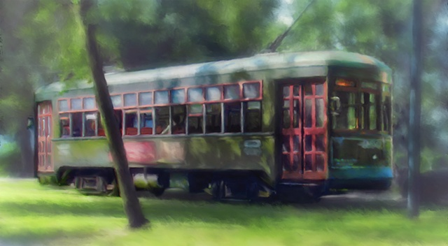 Saint Charles Streetcar in the Early Morning