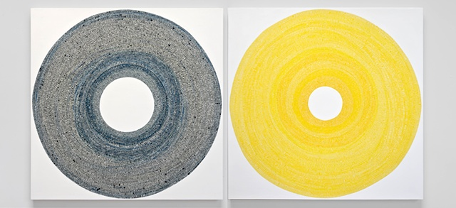 circle, circles, geometric, abstract, minimal, yellow, blue, cadimium yellow, prussian blue, unmeasured, diptych