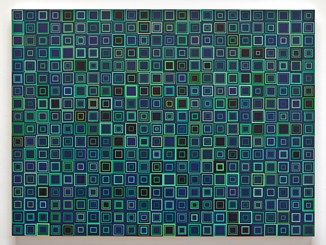 square, squares, repetition, shape, minimal, abstract, geometric, collaged painting, acrylic