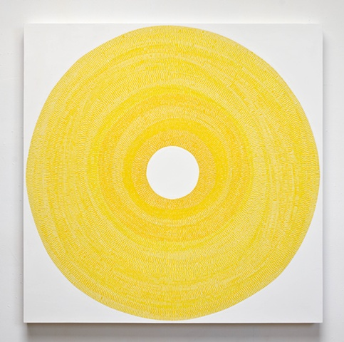 circle, repetition, shape, tape, minimal, abstract, geometric, collaged painting