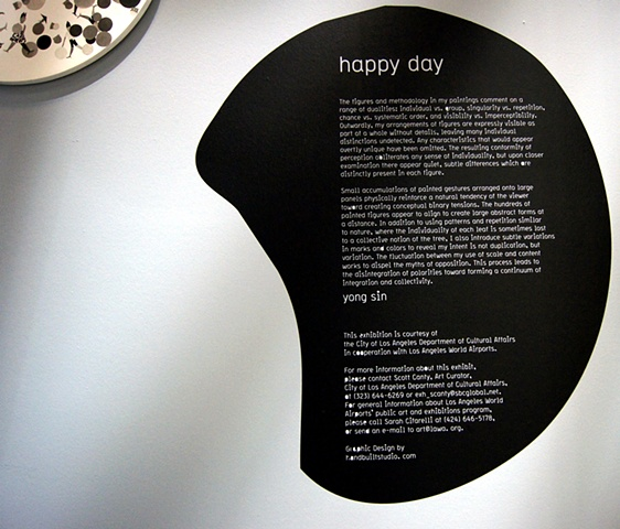Installation view at Los Angeles International Airport, Terminal 2, happy day, public art display