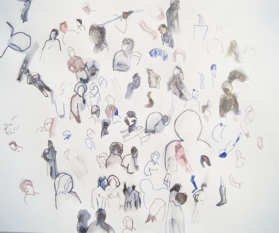 drawing, figurative, people, group, ink drawing