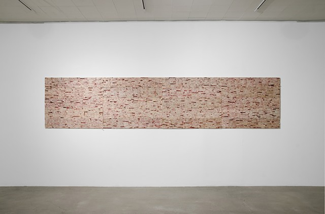Johnson & Johnson band aid, oil painting, text art, being and nothingness, conceptual, Los Angeles Times, remba gallery